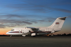 (supersev41) Tags: 70200l 5d canon aircraft plane nightshoot northolt raf bae146 blue yellow light golden dusk sunset
