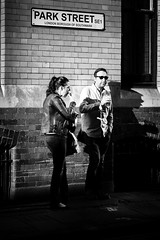 Park Street - Explored (Sean Batten) Tags: london england uk europe streetphotography street candid people parkstreet city urban nikon d800 85mm light shadow eating drinking food drink wall bricks blackandwhite bw