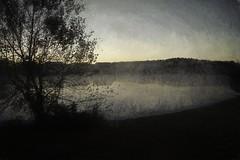 Morning Fog (delmarvajim) Tags: digitalart digitalprocessing digitaleffects digitalpainting fineart landscape fog texture pond morning light shadow reflection water trees morningsky