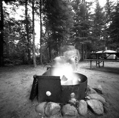 (facenorth) Tags: ilfordfp4plus125 mediumformat zeroimage2000 pinhole pinholephotography 120film scan negative selfdeveloped kodakhc110 camping longexposure campfire lomography lomo blackandwhite bw filmisnotdead ishootfilm milf manilovefilm
