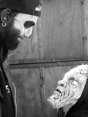 bourtange encounter (gerben more) Tags: encounter blackwhite man monochrome child people netherlands festival mask paint