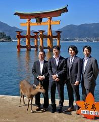 Japan: Miyajima, four men and a deer (Henk Binnendijk) Tags: hatsukaichi hiroshima miyajima japan people deer animal men island insel eiland hert ree floatingtorii itsukushimashrine gate shinto