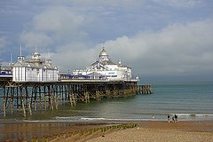 Eastbourne Pier, England (majka44) Tags: people travel building architecture light day sea blue sky england family clouds eastbourne