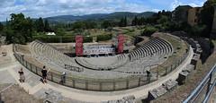 Roman Amphitheatre (Tripl3 D) Tags: roman romeins amphitheatre amphitheater romeinen fiesole italië italy toscane tuscany wolken clouds bomen trees panorama pano microsoftimagecompositeeditor canon canoneos650d eos 650d bergen mountains
