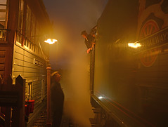 Waiting for the off (DaveStubbings) Tags: royalscot 46100 bewdley severnvalleyrailway svr enginedriver traindriver nightphotography preservation preserved steamengine steamlocomotive steamtrain steam railway train transport signalbox worcestershire traincrew