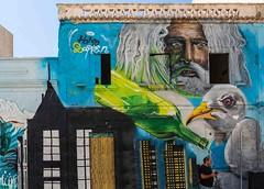 hopefully his mobile is waterproof :)) (peter manintveld) Tags: grafitti portugal gezicht face kleuren colours mobiel fles bottle vogel bird ship boot