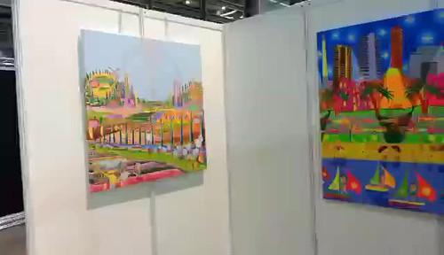 video clip naive art exhibition urban landscape paintings by israeli painter raphael perez