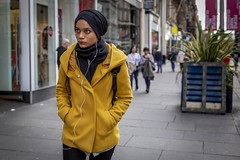 Yellow (Leanne Boulton) Tags: people portrait urban street candid portraiture streetphotography candidstreetphotography candidportrait streetportrait streetlife woman female girl face eyes expression mood feeling emotion yellow coat autumn cold weather colourful tone texture detail depthoffield bokeh naturallight outdoor light shade city scene human life living humanity society culture lifestyle fashion canon canon5dmkiii 50mm primelens ef50mmf14usm color colour glasgow scotland uk