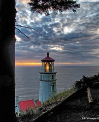 Heceta Head (pandt) Tags: heceta head light lighthouse coast coastal water ocean sea pacific red white sky clouds dusk sunset tree outdoor flickr canon g10