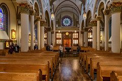 The Rose Window (Ron Drew) Tags: nikon d850 santafe newmexico cathedralbasilicaofstfrancisofassisi church catholic stfrancis cathedral basilica pipeorgan rosewindow stainedglass window arichitecture arch column choirloft pews