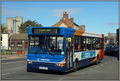 34625, Cotton End (Jason 87030) Tags: 34625 kx54ooy dennis dart slf pointer northampton stagecoach midands roadside street cottonend red white blue orange 2 camphill route service northants northamptonshire bus transfer new allocated allocation