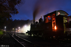 Night Train (Dobpics O'Brien) Tags: 12a engine train locomotive narrow night na gauge belgrave rail railway railways steam victorian victoria vr pbr puffingbilly puffing pbps billy
