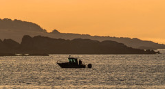 Gone Fishin... (Paul Rioux) Tags: marine boat vessel sea ocean water esquimalt harbour fishing fisherman layers sunrise morning hills orange prioux outdoors
