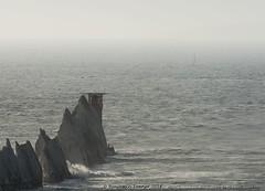 Needles light (frattonparker) Tags: afsnikkor28300mmf3556gedvr btonner isleofwight lightroom6 nikond810 raw frattonparker solent englishchannel mist lighthouse seastacks chalkdownland channel