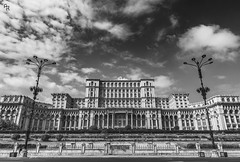 The govern (Andrea Rizzi Esk) Tags: bucharest capital romania building architecture architectural black white bw governament parlament historic big contrast clouds