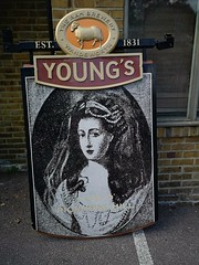 Original Young's pub sign for The Lass O Richmond Hill. (Peter Anthony Gorman) Tags: lassorichmondhill youngspubs richmondpubs surreypubs pubsigns