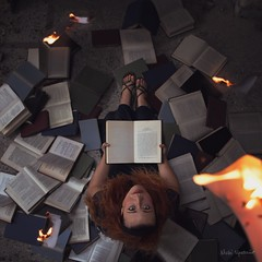 new chapter (Nicki Upstairs) Tags: conceptual portrait books composite fire burning pages reading girl fine art