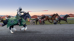 I knew I should have taken that left turn at Albequerque (Repp1) Tags: bc canada surrey horses racetrack cloverdalepnejouster harnessracing horse sulky knight cavalier coursesattelées cheval