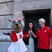 Ashley Lawson accepts the key to the NC State Belltower