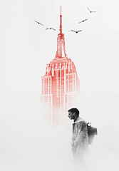 Waiting down the red tower (https://tinyurl.com/jsebouvi) Tags: waitingdownthetower usa architecture collage art man birds sky red newyork building top jsebouvi decoration