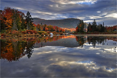 Once upon a time in Vermont (Sandra OTR) Tags: vermont fall foliage lake pond indian summer herbst trees colorful reflection landscape water maple clouds