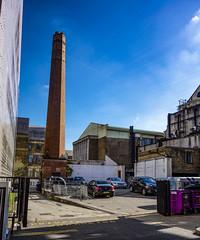 Bethnal Green Chimney (London Less Travelled) Tags: uk unitedkingdom britain london england city urban street bethnalgreen cambridgeheath eastlondon chimney townhall factory industrial