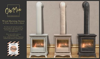ChiMia - Wood Burning Stoves in White, Rose Gold & Black for Saturday Sale