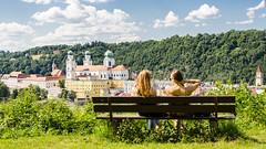 Passau; The Look At The Beauty (drasphotography) Tags: passau bavaria bayern bench girl girls beauty city church travel travelphotography reisefotografie sky cielo himmel nikon d7k d7000 drasphotography bank kirche cathedral