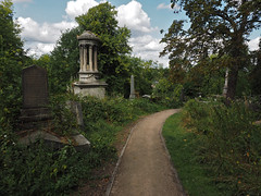 path by the monuments (Johnson Cameraface) Tags: 2018 august summer olympus omde1 em1 micro43 mzuiko 1240mm f28 johnsoncameraface sheffieldgeneralcemetery sheffield cemetery graveyard graves spooky gothic