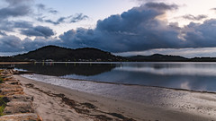 Early Morning Rain Clouds over the Bay (Merrillie) Tags: daybreak woywoy sunrise nature dawn drizzly overcast foreshore newsouthwales clouds earlymorning nsw brisbanewater australia centralcoast morning cloudy water coastal landscape outdoors waterscape atmosphere rain sky bay