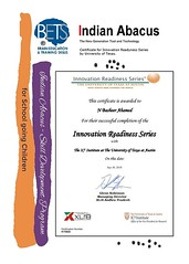 Mr. N. #Basheer Ahamed, Chairman and Managing Director, Indian Abacus Pvt. Ltd., has been #awarded certificate for #innovation #Readyness Series by University of #Texas for his Innovation in the field of #Abacus based Mental Arithmetic and Mindmath #Educa (Ind-Abacus) Tags: abacus mental mind math maths arithmetic division q new invention online learning basheer ahamed coaching indian buy tutorial national franchise master tutor how do teacher training game control kids competition course entrepreneur student indianabacuscom