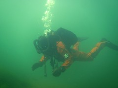 Fullface frogman diving in lake Medard (CZDiver) Tags: scubagear scubadiving scubadiver scuba underwater drysuitdiving divinggear doublehosescubaregulator aqualungmistral scubatank drysuit diving diver