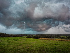 Ripley Stormcell (Muzfox) Tags: ripley ipswich queensland weather storm cell wind rain hail bolt lightning green brown red color colour xolors colours cloud clouds