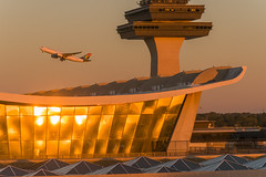 18-6821cr (George Hamlin) Tags: virginia chantilly washington dulles international airport iad south african airways airline airbus a330200 aircraft airliner airplane zssxy widebody twin aisle saarinen terminal building sunset glint glass roof control tower takeoff evening photo decor george hamlin photography