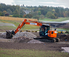 Changing Landscape. (HivizPhotography) Tags: hitachi zaxis 135us potter plant hire awpr aberdeen bridge landscape soil grass excavator tracked digger orange small compact heavy iron earthmoving river dee crossing