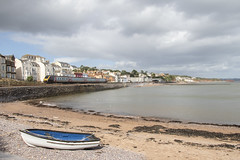 Different mode of travel: train and boat at Dawlish, Devon, UK (Dai Lygad) Tags: seaside trains railways railroads dawlish devon unitedkingdom greatbritain uk scenic panorama clouds september 2018 voyager class220 crosscountrytrains newcastletoplymouth stock photos photographs photography pictures images viewof travel transport