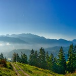 Mountains in the morning with mist on Nusslberg near Kiefersfelden, Bavaria, Germany thumbnail