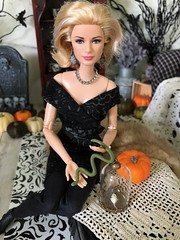 Only Grace can make handling a snake look THIS classy! (JunqueDollBoutique) Tags: halloween playscale diorama snake barbie grace kelly