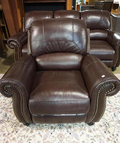 Brown leather reclining chair ($336)
