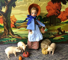 3. Feeding the pigs (Foxy Belle) Tags: tammy doll ideal costume old fashioned fall outside pig animal farm autumn paint by numbers farmer colonial early american pumpkin scene vintage diorama 16 scale playscale ornament