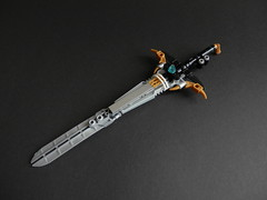 Kingmarshy's Sword (Kingmarshy) Tags: lego bionicle hero factory moc self persona weapon gold black titan revamp beard crown king marshy kingmarshy fusion action figure sword hammer tool brick built head