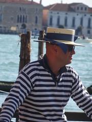 Classic Gondolier,Venice. (Trevor Lawrence Photos Northern Ireland) Tags: riva motor launch speedboat harleyquin masks venice venetian lady gondolier classic italian churh saint marks square canals