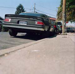 Redwood City (bior) Tags: hasselblad500cm carlzeiss portra160nc kodakportra expiredfilm mediumformat 120 6x6cm suburbs redwoodcity street sidewalk car square camaro chevy chevrolet