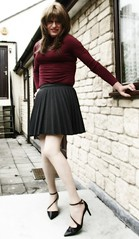 Nice Outfit (Amber :-)) Tags: charcoal sunray pleated skirt tgirl transvestite crossdressing