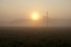 Sunrise (docwiththecamera) Tags: sunrise fog wire light sun autumn explore