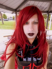 ($$Rachel$$) Tags: redhair redhead red black blacklips lipstick autumn latex