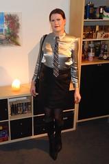 Silver and black (Rikky_Satin) Tags: silk satin blouse tie leather pencil skirt boots highheels pantyhose crossdresser crossdressing transvestite tgirl tgurl gurl sissy secretary office