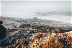 A misty view from Curbar edge (G. Postlethwaite esq.) Tags: curbaredge derbyshire drystonewall fields fog landscape mist outdoor photoborder sunrise temperatureinversion trees valley