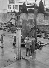 3019 Colby Ave, Everett WA - Late 1940s (PS Robison) Tags: everett edwinparker concrete structure column rebar crane 3019colby aerobatteries browning service trenchcoat