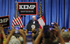 United States Vice President Mike Pence speaks at the Columbia County Exhibition Center in Grovetown, Georgia, to support Georgia gubernatorial candidate Brian Kemp on Nov. 1, 2018. (Photo/Vira Halim)